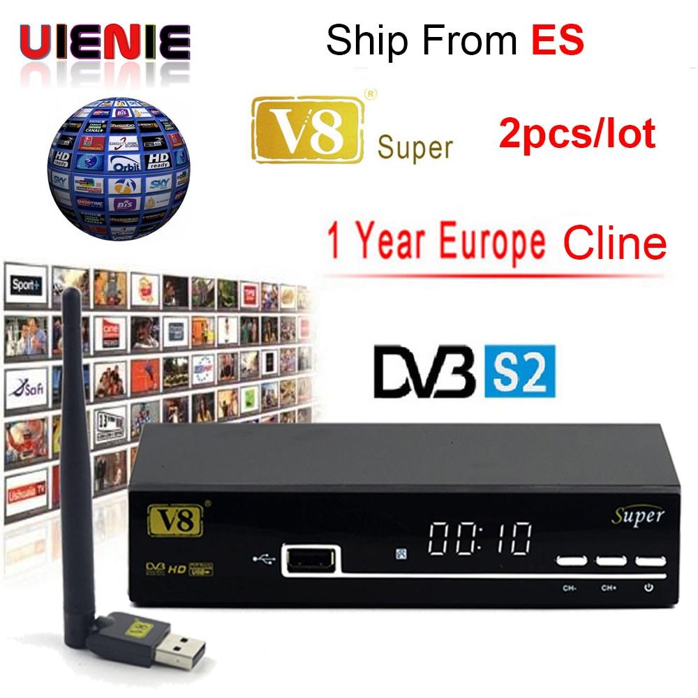 цена на 2pcs 1 Year Europe Clines Server Four clines V8 super HD DVB-S2 Satellite Receiver 3G iptv satellite receptor+USB WIFI