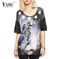 New 2016 fashion summer t shirt women tops galaxy starry night praying skull print punk tees casual t-shirt for women Plus size