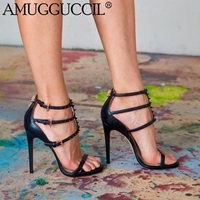 2019 New Plus Big Size 35 52 Black Zip Rivet Fashion Sexy High Heel Party Wedding Female Ladies Shoes Summer Women Sandals L1144