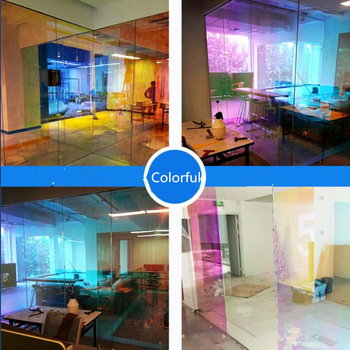 Samoprzylepne kameleon budynku okno odcień parasol przeciwsłoneczny filmów efekt tęczy prywatność szkło okienne odcień Vinyl Decor tanie i dobre opinie Folie okienne i ochrona słoneczna Decorative Dekoracyjne folia i tatuaże 29 7cm Boczne Szyby Blue Chameleon HR013 40 -60