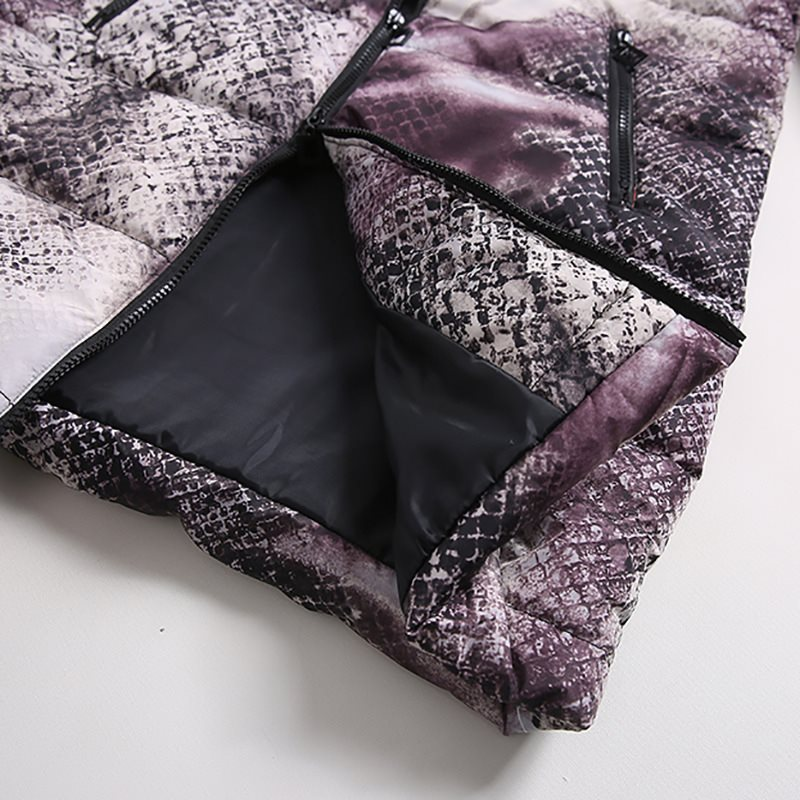 Casual Winter Jackets Fur Blue Plus Size Coats Womens Parka Slim Print Long Outwears Gray 2019 Warm Female High Street Overcoats in Parkas from Women 39 s Clothing