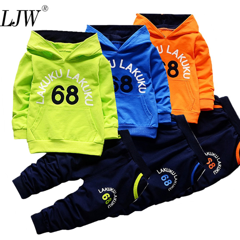 купить 2018 Boys Girls Fashion Clothes Toddler Tracksuit Autumn Baby Clothing Sets Children Kids Hooded T-shirt+pants Full Suit по цене 376.36 рублей