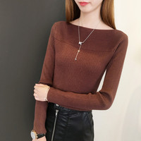 2017 Autumn Women Knitted Pullover Sweater Slash Neck Long Sleeve Solid Sexy Slim Sueter Mujer Chompas