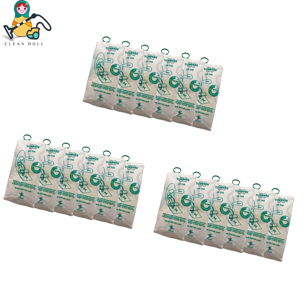 CLEAN DOLL 18-PACK Non-woven cloth Dust Bags for VORWERK KOBOLD VK140 VK150 FP140 FP150 vacuum parts 6pcs high efficiency dust filter bag replacement for vk140 vk150 vorwerk garbage bags fp140 bo rate kobold vacuum cleaner