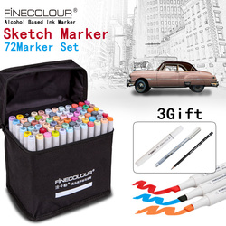 FINECOLOUR/STA Artista Doppia Headed Sketch Marker Set 36/48/60/72 Colori A Base di Alcool Manga pennarelli Artistici per Forniture di Design