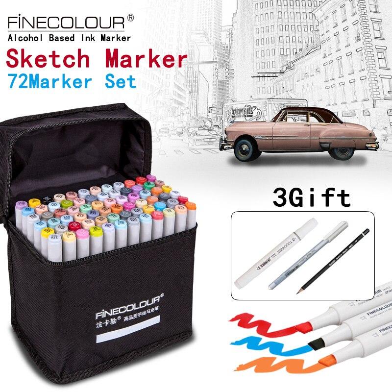 FINECOLOUR/STA Artiste Double Tête Sketch Marker Ensemble 36/48/60/72 Couleurs À Base D'alcool Manga art Marqueurs pour Conception Fournitures