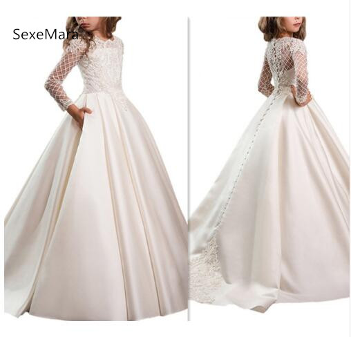 White Customized Girls First Communion Dresses Vestidos De Comunion Para Ninas Lace Long Sleeves Flower Girl Dresses for Wedding