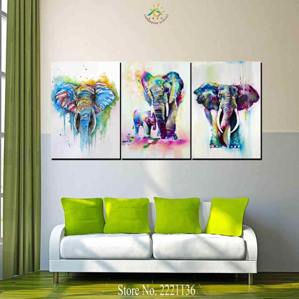 3 Pieces African Elephant and baby Modern Wall Art Canvas Printed Painting HD Prints Modular Poster Wall Pictures for Home Decor