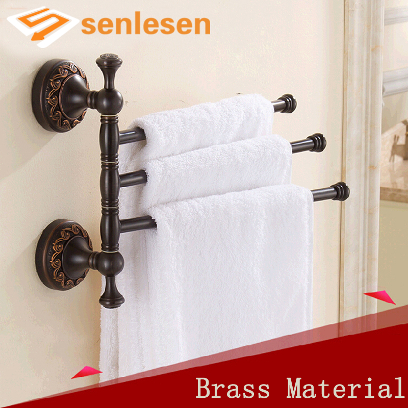 Wholesale And Retail Luxury Oil Rubbed Bronze Solid Brass Towel Rack Holder 3 Swivel Towel Bars Wall Mounted Flower Carved newly jade toothbrush holder rack oil rubbed bronze dual cup