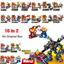 16 Pcs/lot Classic Marvel Avengers Infinity War Movie Super Heroes Figures Building Block Set Kids Toys Gift Compatible Legoings(China)