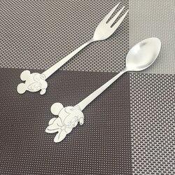 Łyżki ze stali nierdzewnej Minnie Mickey forks przenośne kreatywne naczynia stołowe Cartoon sałatka widelec deserowy zestaw łyżek dla dzieci prezent dla dzieci
