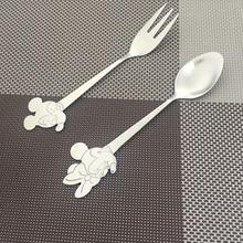 Christmas Spoons forks Stainless steel Mickey Minnie Cartoon Salad Dessert Fork Spoon set Kids Portable creative Baby Spoon Set