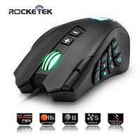 Rocketek USB wired Gaming Mouse 16400 DPI 16 buttons laser programmable game mice with backlight ergonomic for laptop computer