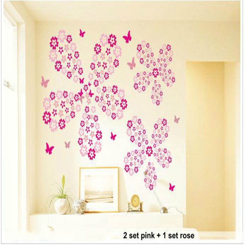 Holiday Sale 108 Flowers 6 Butterfly Diy Removable Wall Sticker Decal Home Bedroom Living
