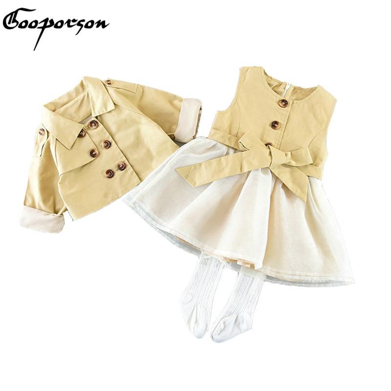 Girls Jacket Clothes Set Kahaki Long Sleeve Jacket + Dress Lovely Fashion Design Kids Girl Clothing Suit Autumn Clothes Children