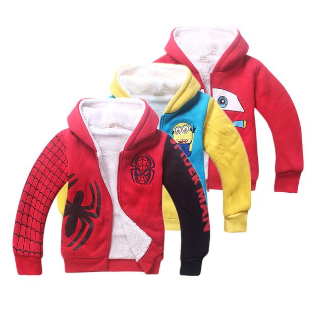 Niños de lana Con Capucha Spiderman Los Hoodies y Sudaderas Anna Elsa Girls Sudaderas con capucha Para Niños Ropa Moleton infantil