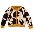 De la muchacha de los animales fawn impreso siguiente suéter de la marca para las niñas de primavera de punto embroma la ropa los niños que hacen punto 2-8 años
