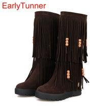 d41320ad6a8748 Neue Wintermode Mittlere Waden Frauen Quaste Fringe Boots Schwarz Rot Brown  Sexy Dame Keil Schuhe AY906-2 Plus Große Größe 10 43.