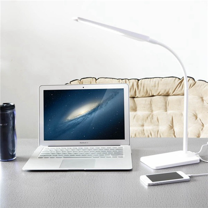 ФОТО Gooseneck 6W LED Desk Lamp with USB Charging Port 3 Level Dimmer Touch-Sensitive Flexible Arm Portable Lightweight Table Reading