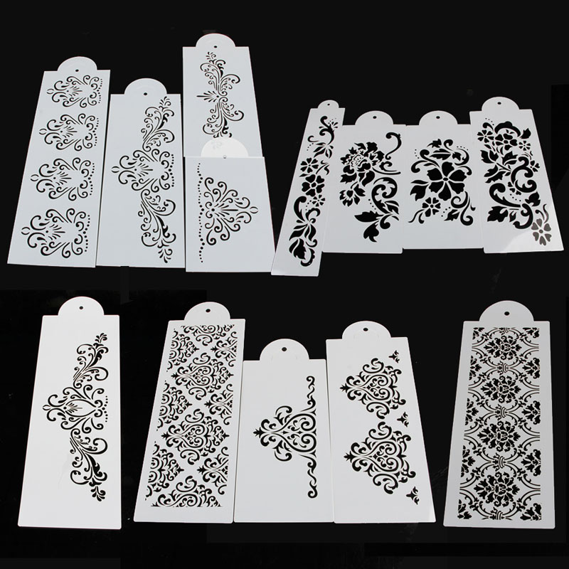 Lace Flower Cake Cookie Fondant Baking Side Wedding Stencil Decorating DIY Tools