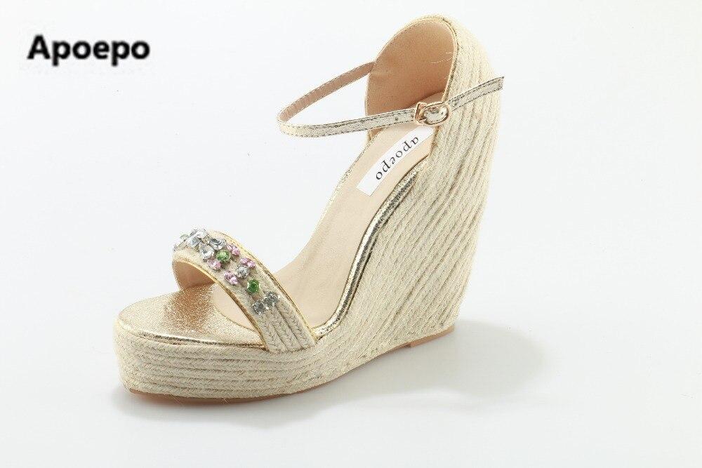 Sales brand sandalias plataforma 2017 high heels shoes women platform sandals crystal wedges sandals summer women shoes цены
