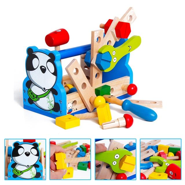 Niños Montessori madera pretendida Panda arreglo herramienta de reparación de juguete mantenimiento de aprendizaje educación preescolar entrenamiento