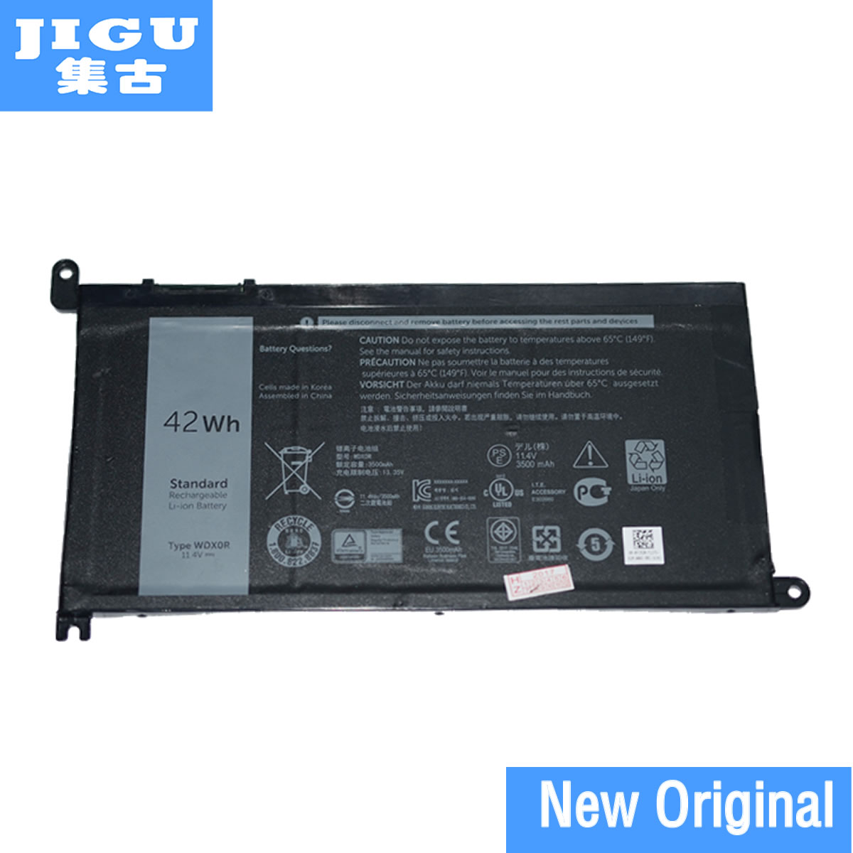 JIGU Original Laptop Battery 3CRH3 WDX0R T2JX4 WDXOR For DELL 15MF PRO-1508T For Inspiron 13 5000 5368 5378
