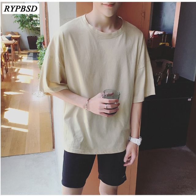 New 2019 Summer T Shirt Men Solid Color Harajuku Bat Sleeve Korean