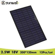 SUNWALK 12pcs 18V 2.5W DIY Solar Cell Panel Monocrystalline PET Laminated Solar Panel for DIY Solar Project and Experiment Test