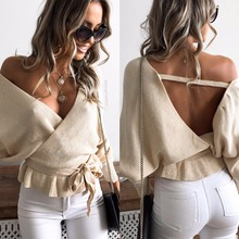 SINFEEL Off Shoulder V Neck Sweaters Women 2018 Autumn New Backless Lace up Long Sleeve Sexy Loose Tops Streetwear Pullovers