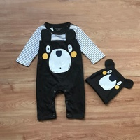 2017 New Arrival Fashion Baby Clothing Autumn Long Sleeve Baby Boy Girl Rompers Bear Printed Jumpsuit + Hat Outfit Clothes 2PCS