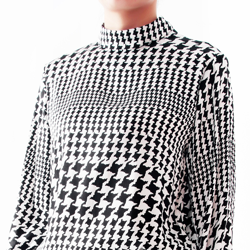 Chemises Manches 2019 Lanterne Travail Pulls 100 Dame Chemisier Roulé Demi Printemps Soie See Chart Bureau Nouvelles Plaid Femmes De Col ZqZtz