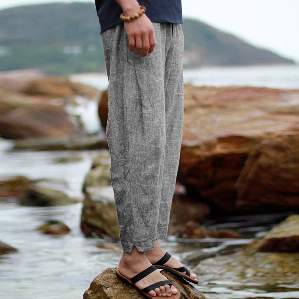 Men's Summer New Style Simple And Fashionable Pure Cotton And Linen Trousers  High Quality Casual  Travel