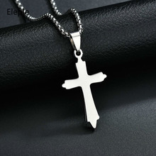 Eleple Stainless Steel Cross Pendant Religious Necklaces for Women Men Prayer Silver Color Necklace Jewelry Wholesale S-N424