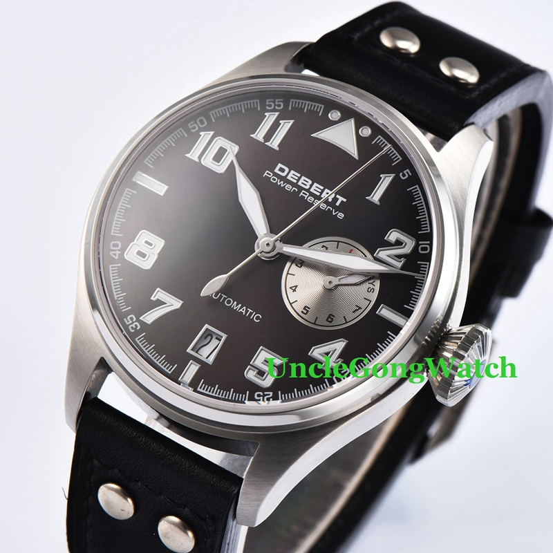 42mm DEBERT Black Dial Power Reserve Sapphire galss SS Case Black Rivets Leather Strap Mens Automatic Watches 42mm debert black luminous dial armbanduhr black leather auto movement mens automatic watches lume hands wristwatch
