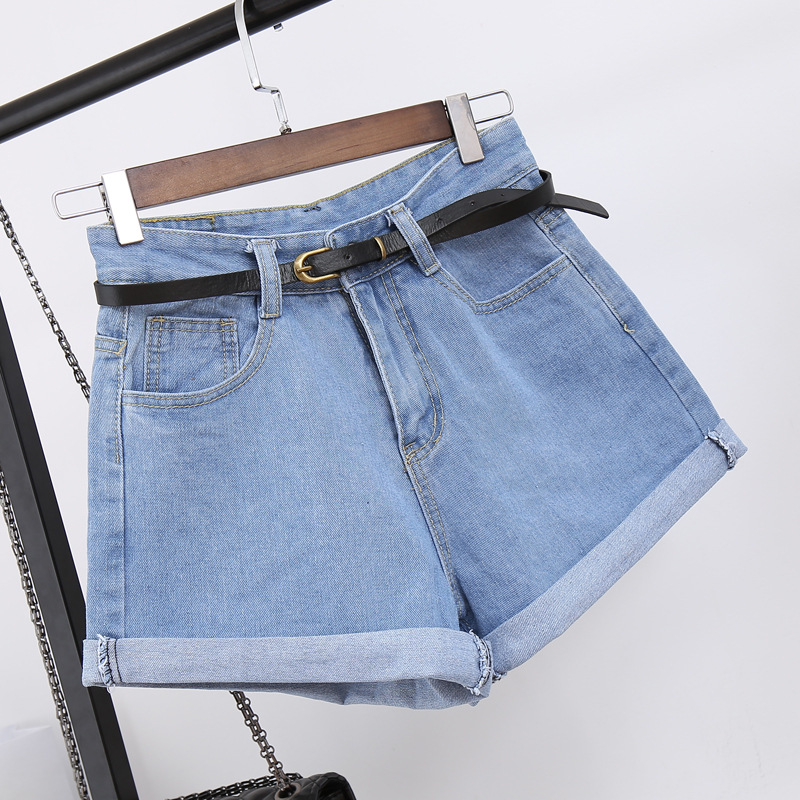 Denim Vintage Light Blue Solid Fashion High Waist Simple 2019 New Arrival Loose Casual Female Shorts