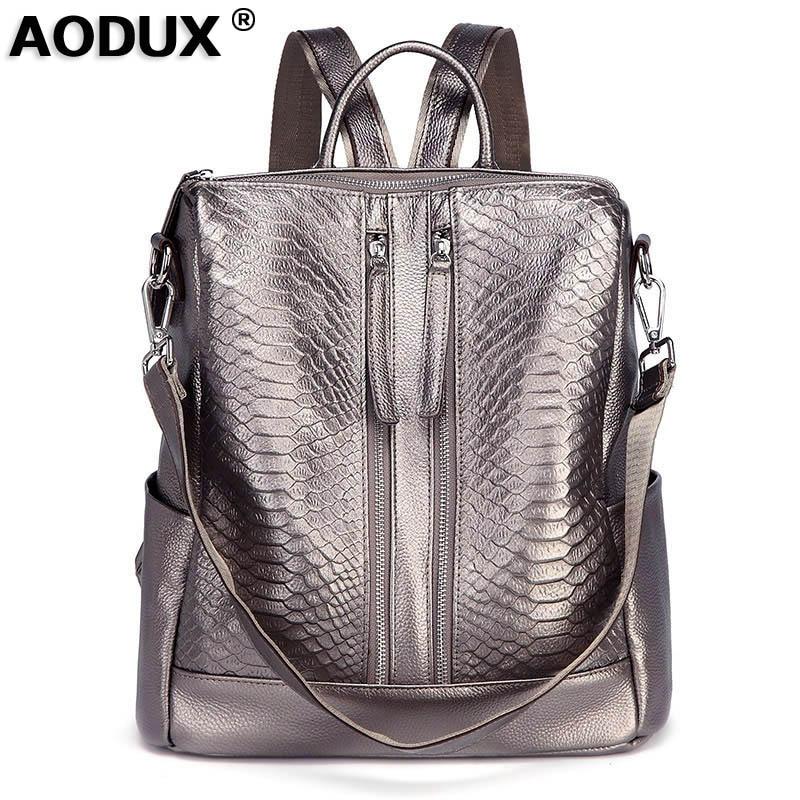 AODUX Large 100 Genuine Leather Alligator Pattern Women Cowhide American Style Fashion Crocodile Women s Backpacks