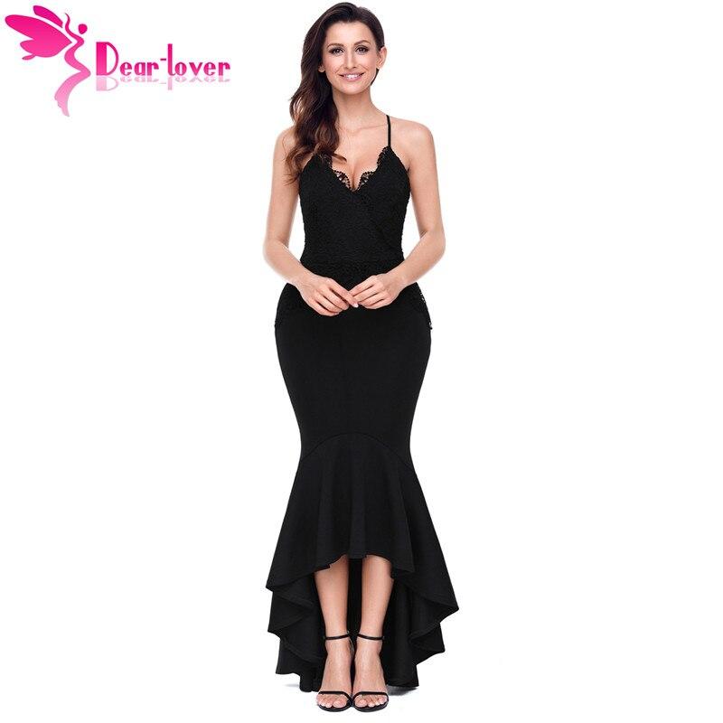 Dear Lover Sexy Party спинки платья черный, красный крест-накрест спагетти Бретели для нижнего белья High-Low платье с русалочкой Vestido Longo De Festa lc61842