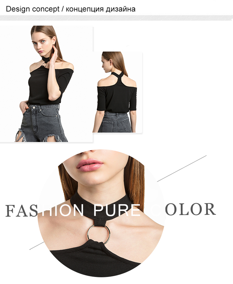 2e85898a2d9 2018 Women T-Shirt Off Shoulder Sexy Hollow Out Summer Punk Tumblr Clothing  Cropped Feminino Black Tops For Women Shirts 40A162 USD 29.85 piece
