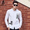 Пионерский Лагерь Белые Рубашки Мужчины высокого качества марка одежды 100% хлопок Повседневная Новая мода С Длинным Рукавом Осень Платье Рубашка 611508