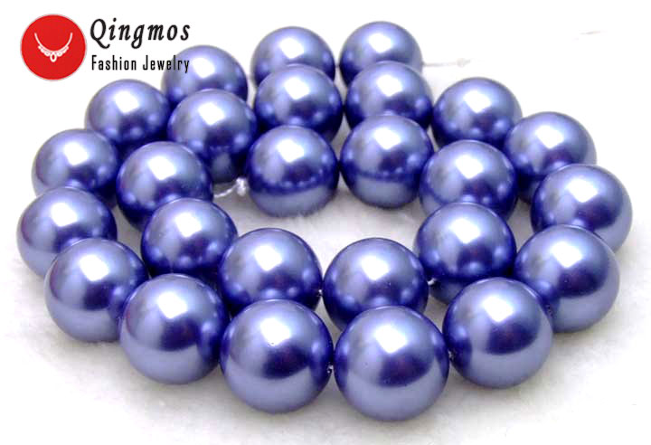 Qingmos Blue Sea Shell Pearl Necklace for Women with 12MM Luster Round Sea Shell Pearl 17 Chokers Necklace Jewelry los256