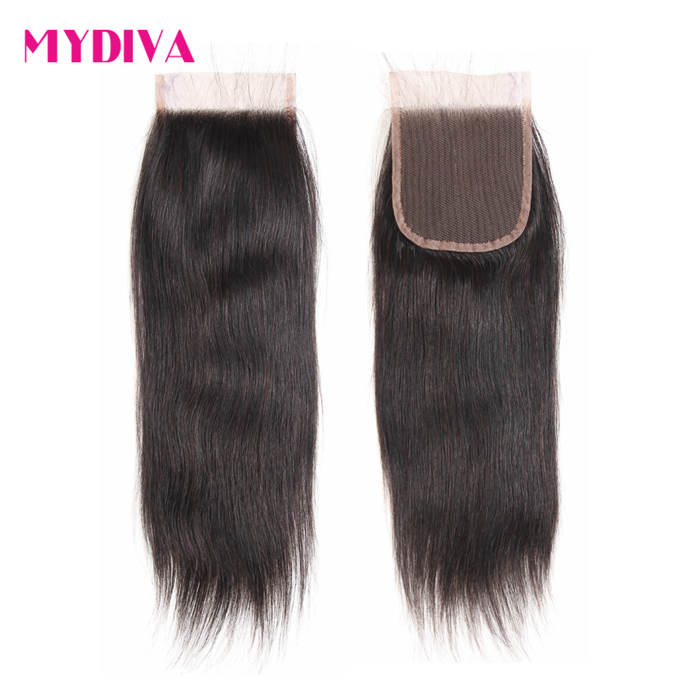 Brazilian Straight Hair Lace Closure With Baby Hair 4x4inch Middle Part Closure 8-20 Inch Human Hair Closure Non Remy Mydiva