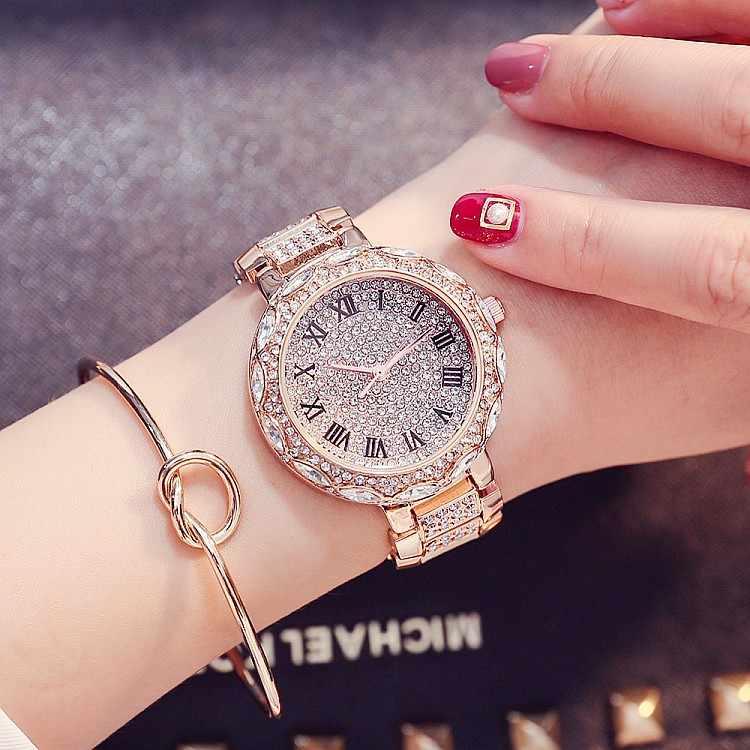 חדש כסף יהלומים שעונים נשים יוקרה פלדה מלאה ריינסטון שעוני יד ליידי קריסטל שמלת שעונים נקבה קוורץ שעון
