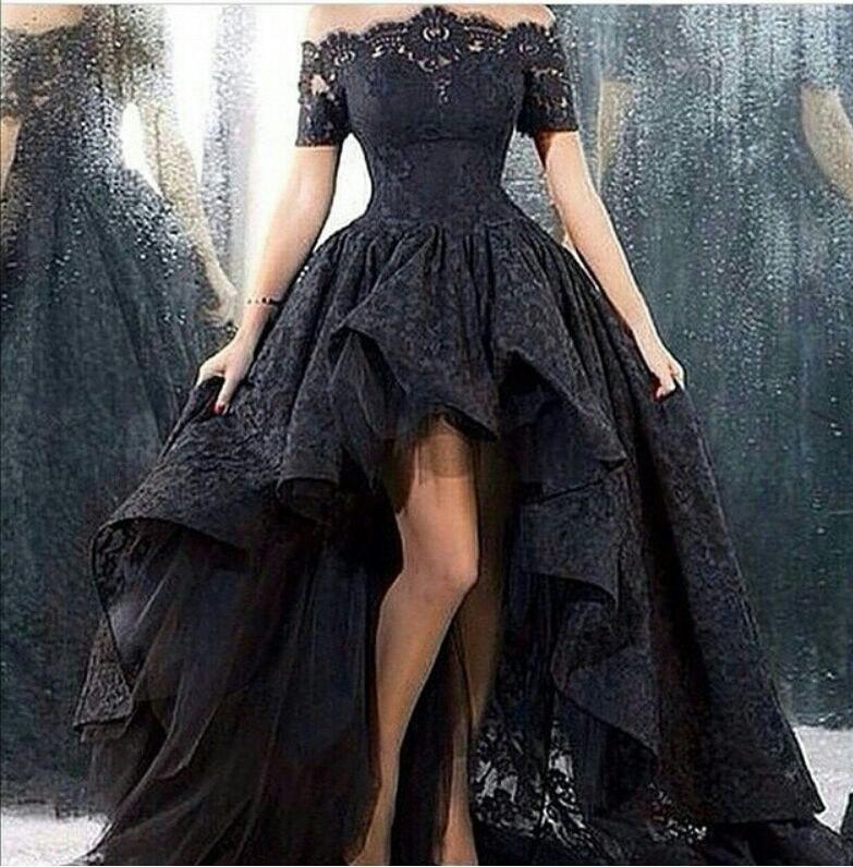 2015 Black Lace   Evening     Dress   Off the shoulder vestidos longos   Evening   Gowns