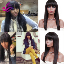 Hot Sale 100% Brazilian Virgin Hair Full Lace Human Hair Wigs With Bangs Full Fringe Wig Straight Lace Front Wigs Bleached Knots