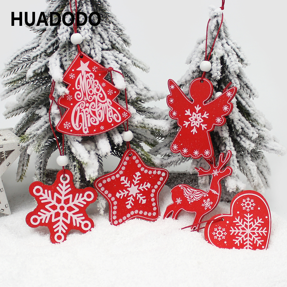 HUADODO 6Pcs Creative Printing Wooden Christmas Pendants Ornaments For Xmas Tree Hanging Ornament Party Christmas Decoration