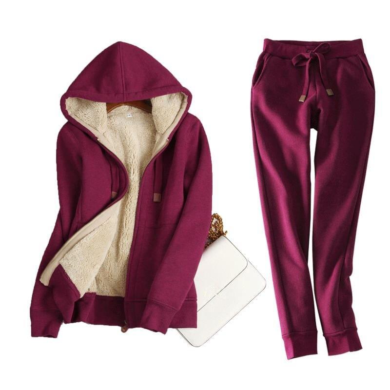Autumn Winter Sweatshirt Women Plus Velvet Thick Hoodies And Pants Women Two Pieces Warm Fleece Jacket