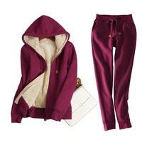 Autumn Winter Sweatshirt Women Plus Velvet Thick Hoodies And Pants Women Two Pieces Warm Fleece Jacket Tops Plus Size 3XL C5156