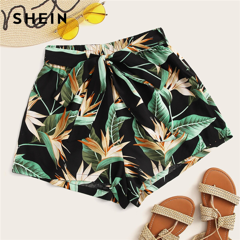 SHEIN Multicolor Tropical Print Belted Bohemian Shorts Women Summer Beach Vacation Casual Elastic Mid Waist Wide Leg Shorts
