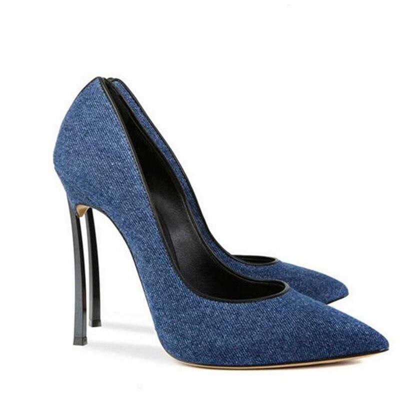 Chaussures Peu En Picture Slip Talon Pointu Cuir Haute Style Métal Bleu Bureau Dame Robe Mince Mode Profonde Sur Denim Bout Pompes Sexy Femmes As wXgHzASqAf